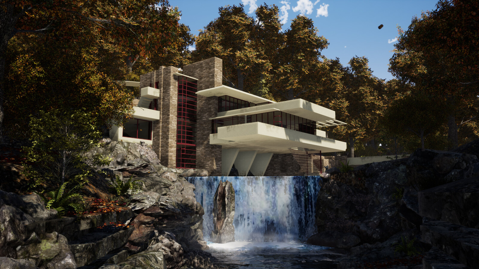 3D rendering of Falling Water House. Edited in Photoshop.