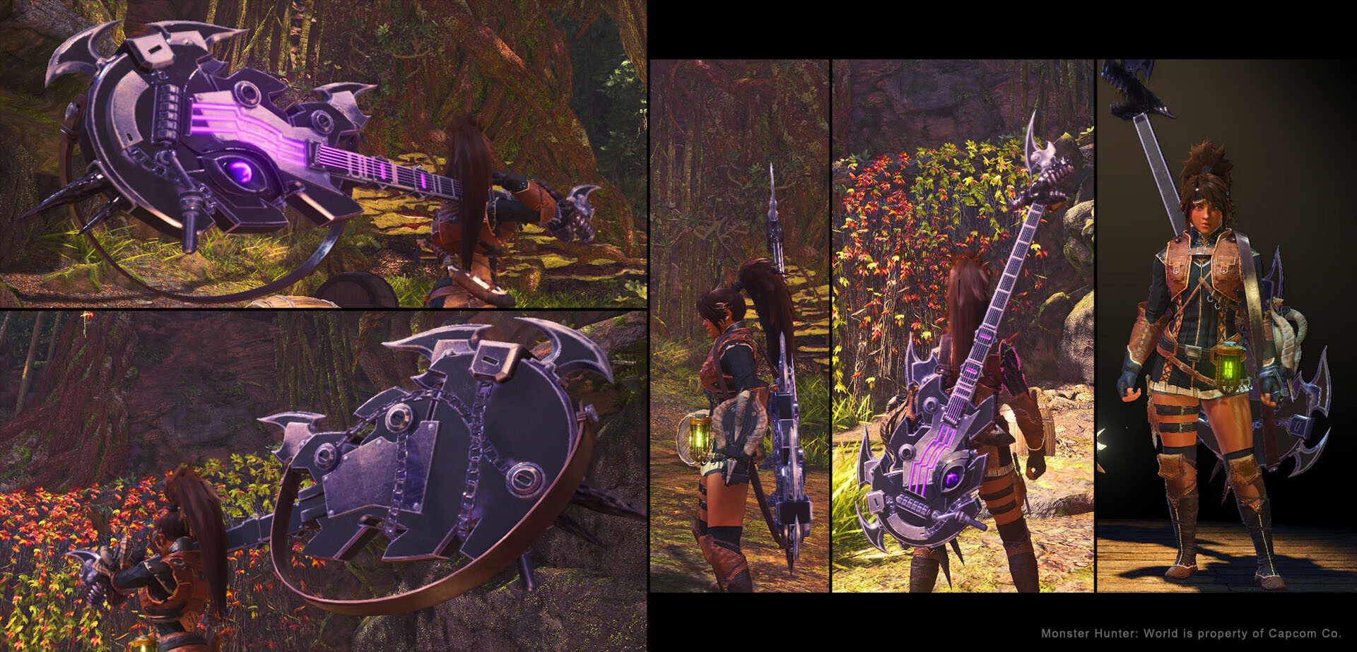 The guitar in game! Replaces the Hunting Horn for those sweet riffs and buffs.