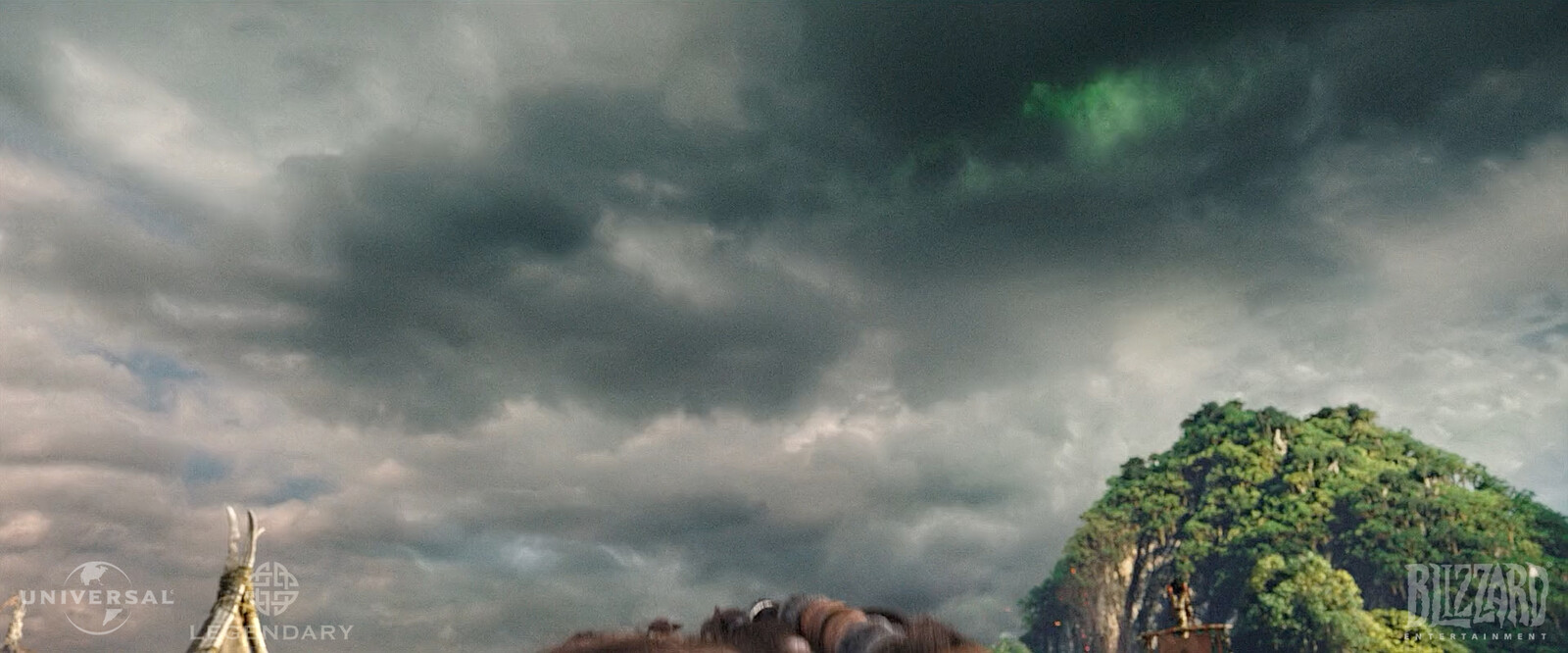 Animated sky with flashing greens and CG environment.