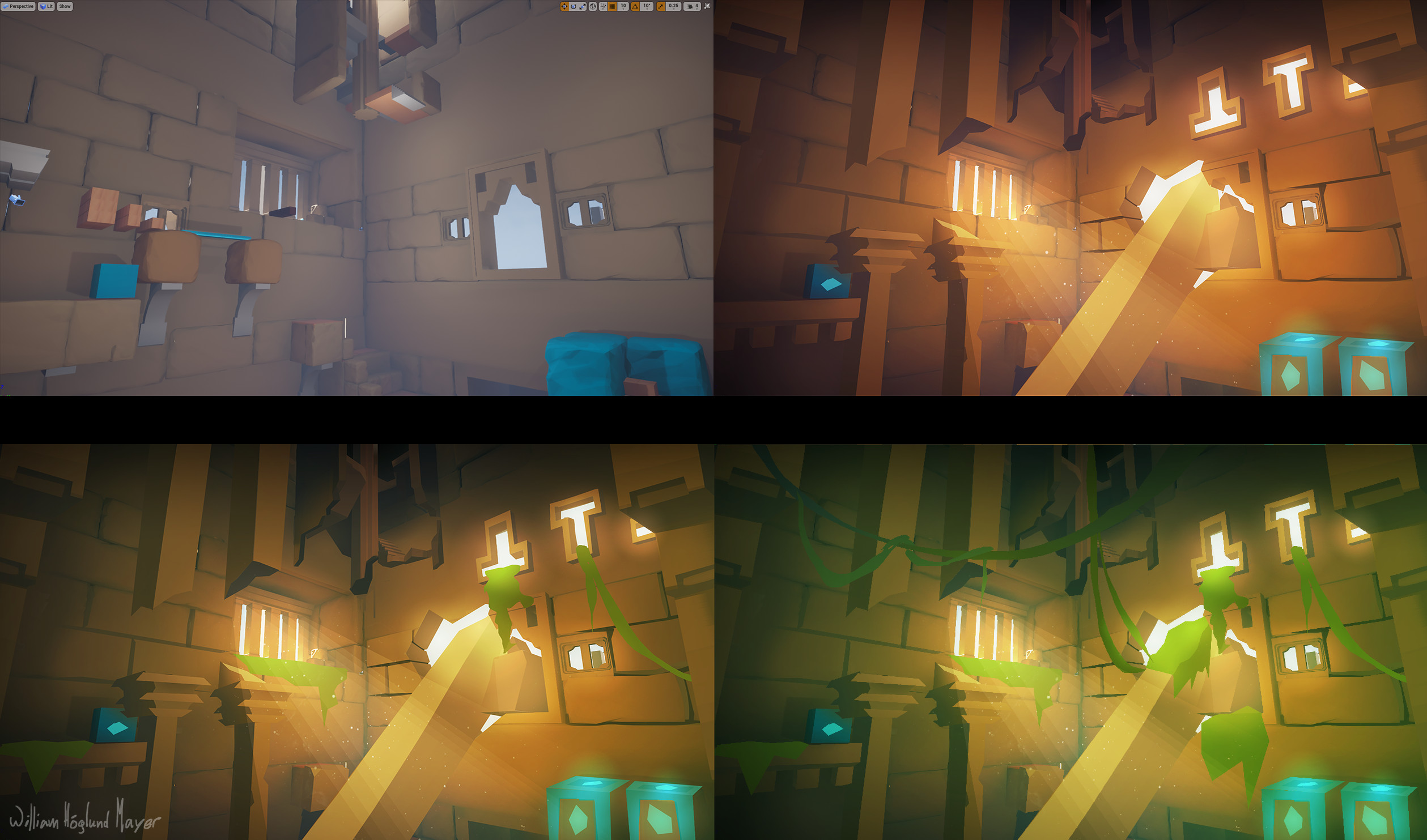 Level overpaint demonstrating lighting variation for different overgrowth levels.