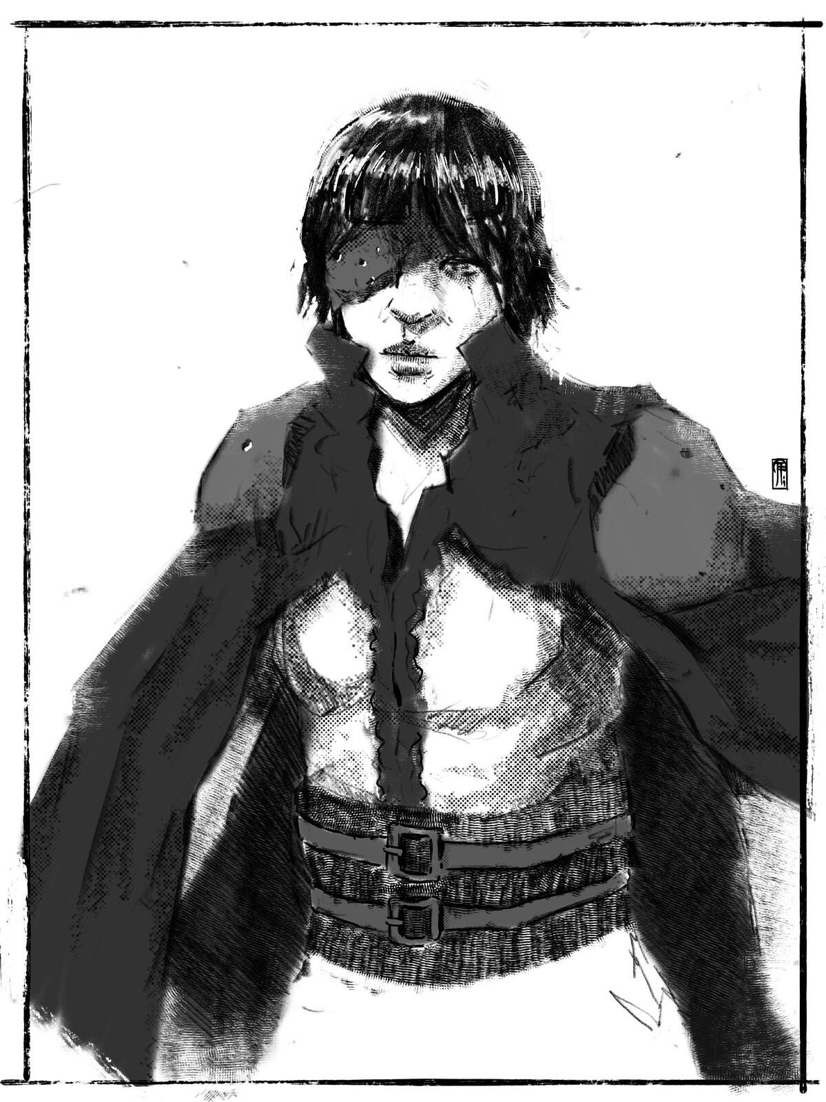 Doodling//Steampunk lady duelist