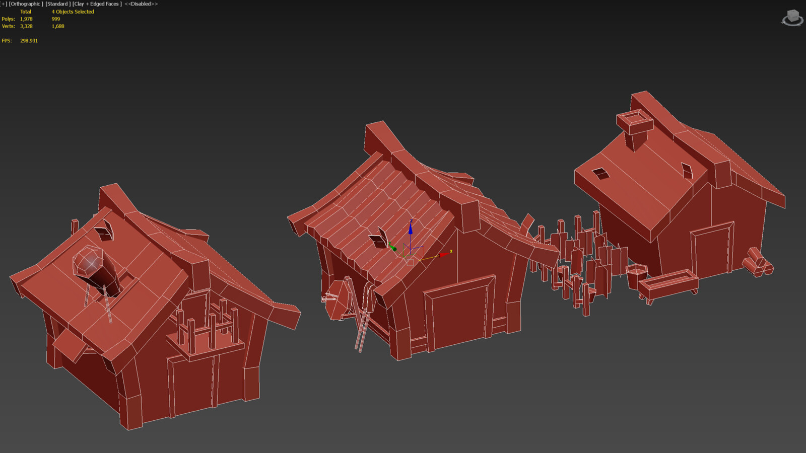 3ds Max viewport capture in clay, note the under 1k polycount.