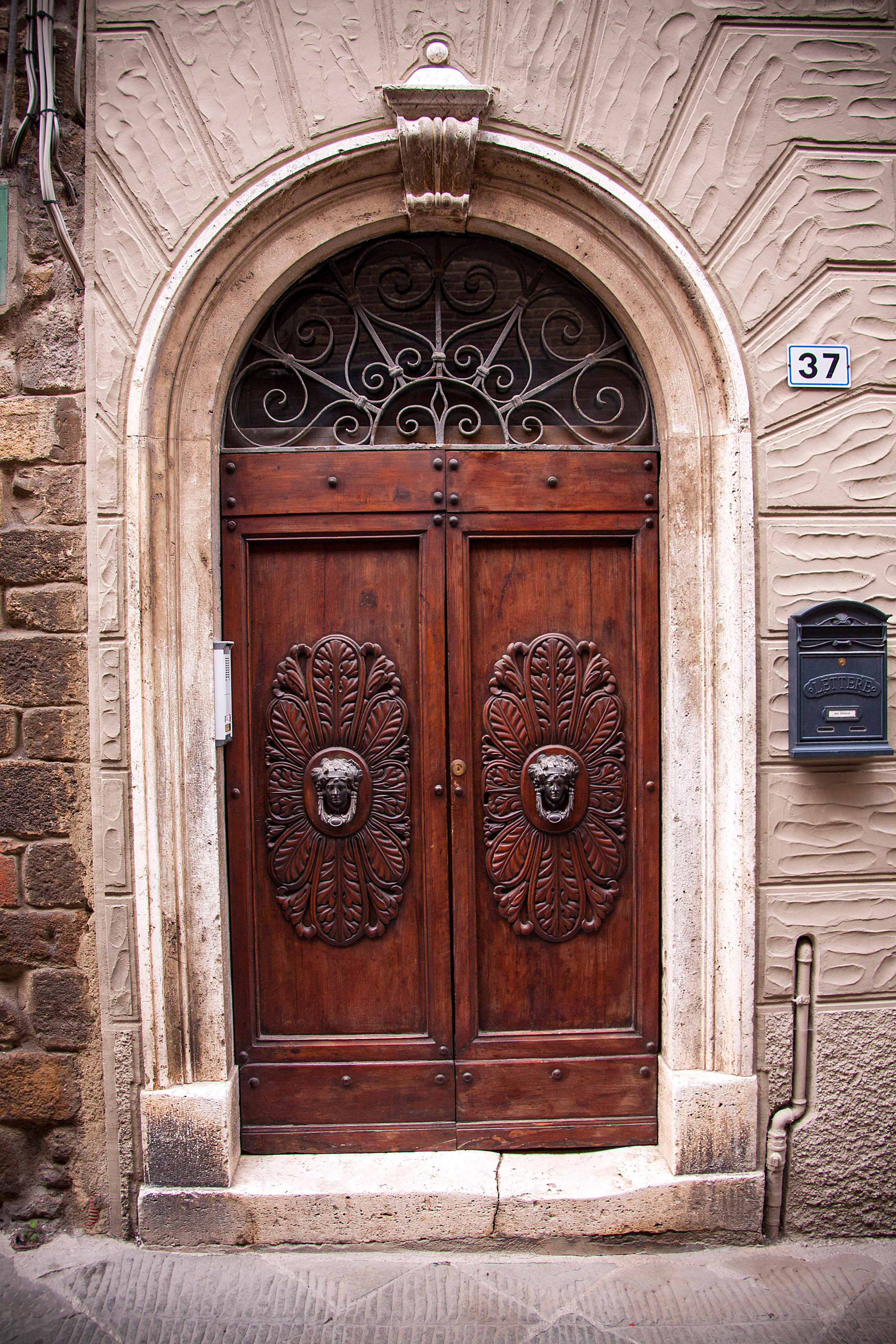 One of Montalcino's beautiful wood carved doors