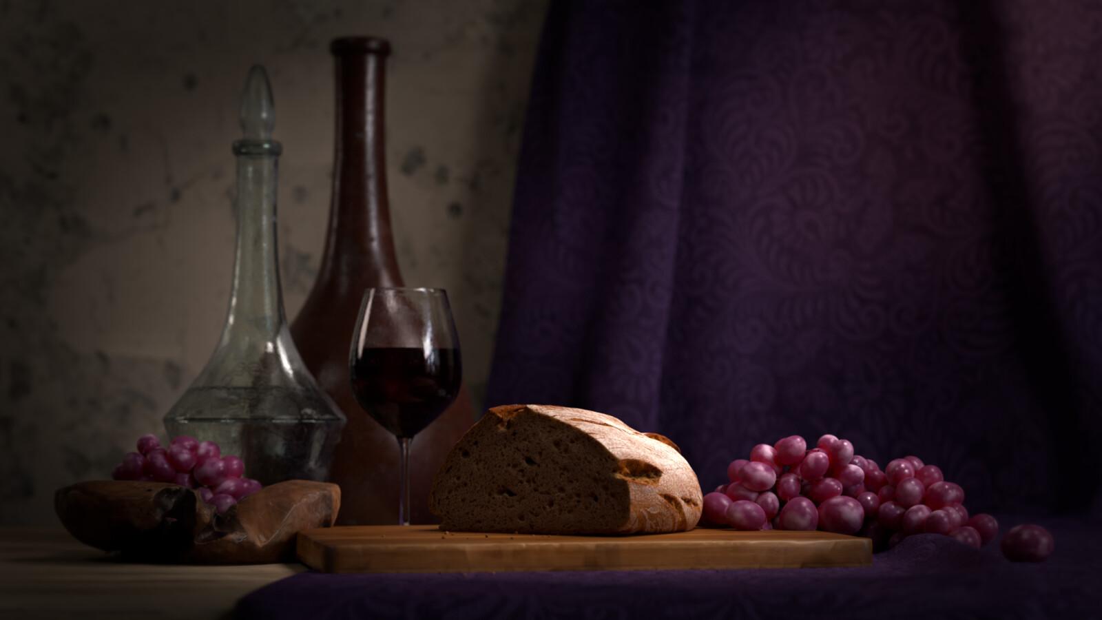 Still Life - Wine & Bread
