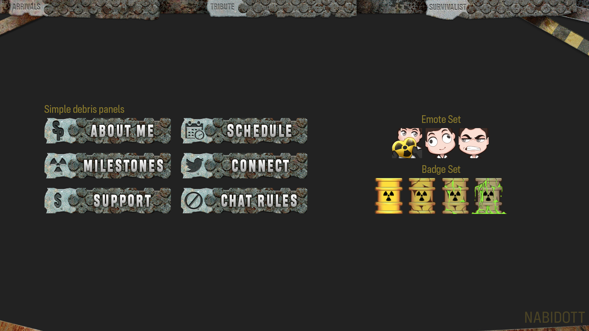 Main Scene with panels, emotes and badges