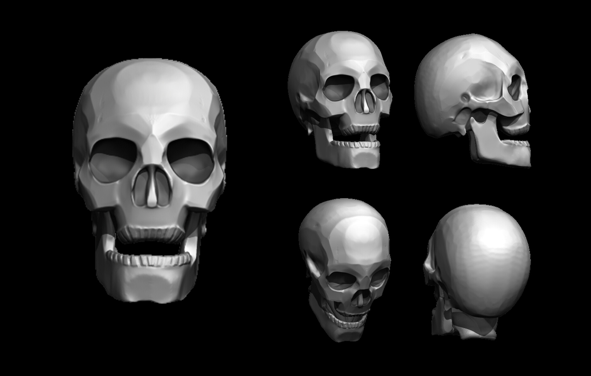 Low poly human skull style