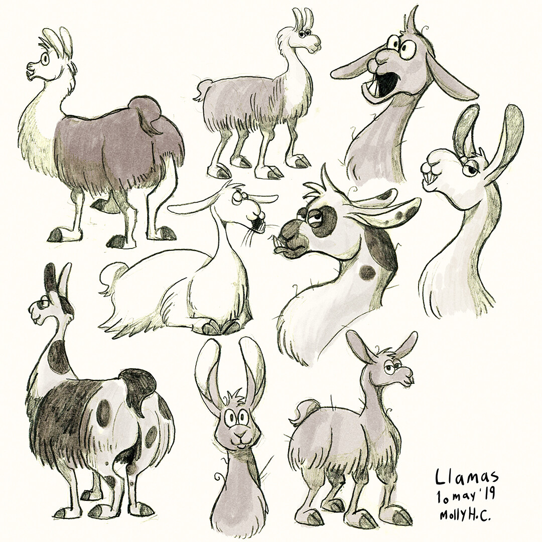 """Llama Character Concepts""  Marker and brushpen with digital colour. Drawn from life at Artis Royal Zoo, Amsterdam.  © 2019"