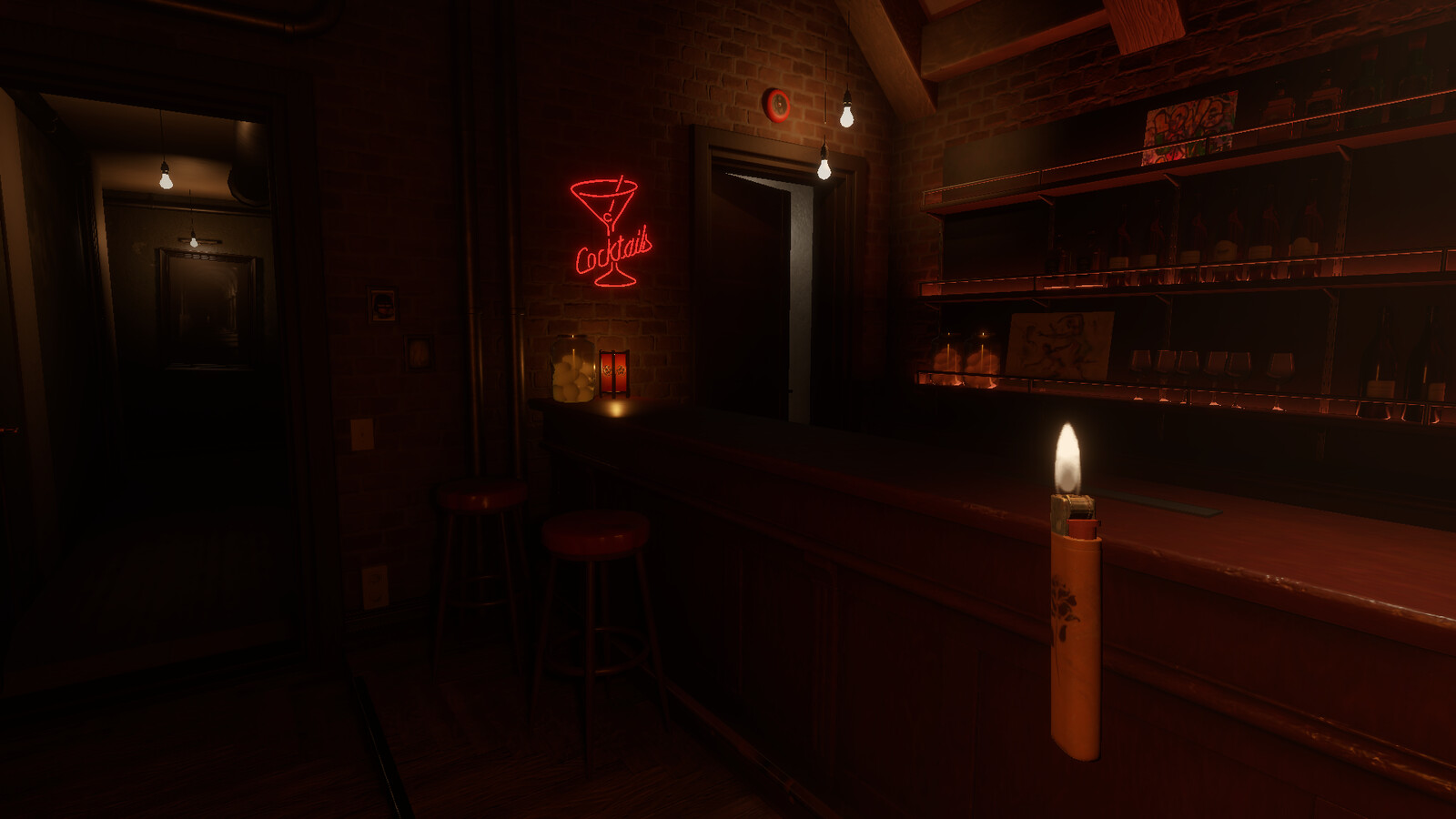 Cocktail neon sign, pickled egg jar and fire alarm modeled and textured by me.