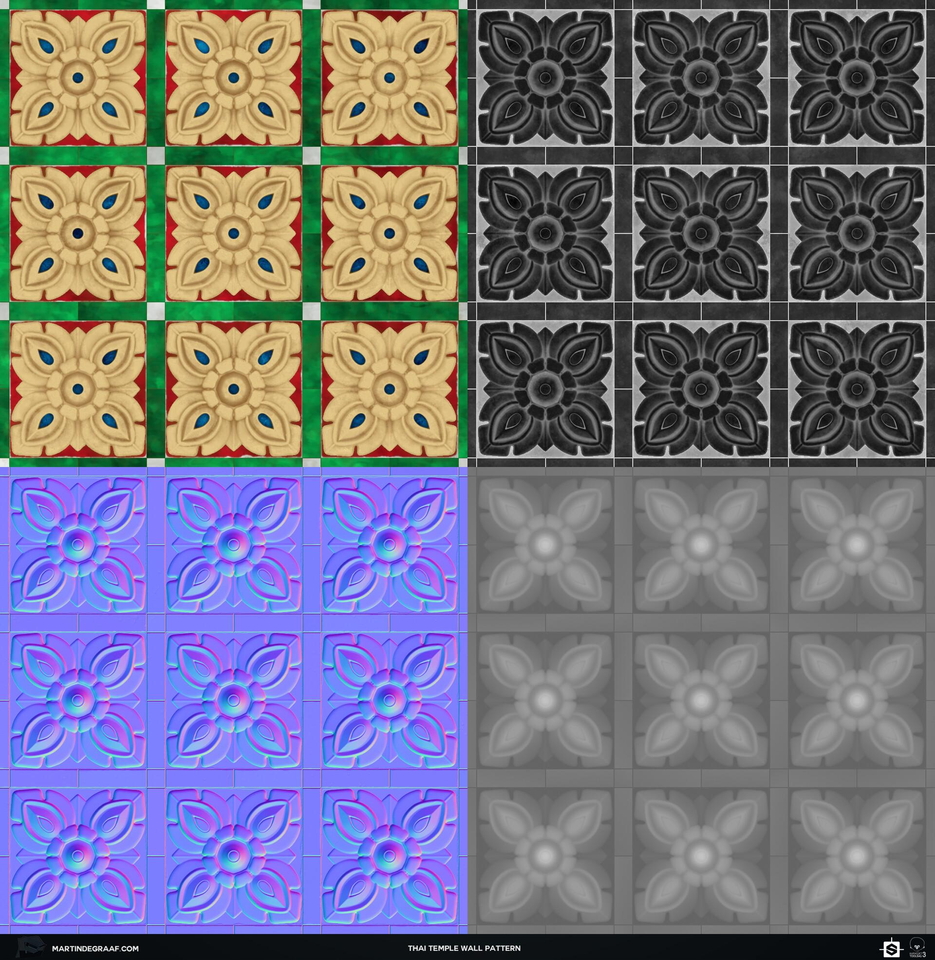 Martin de graaf thai temple wall pattern substance texturesheet martin de graaf 2019