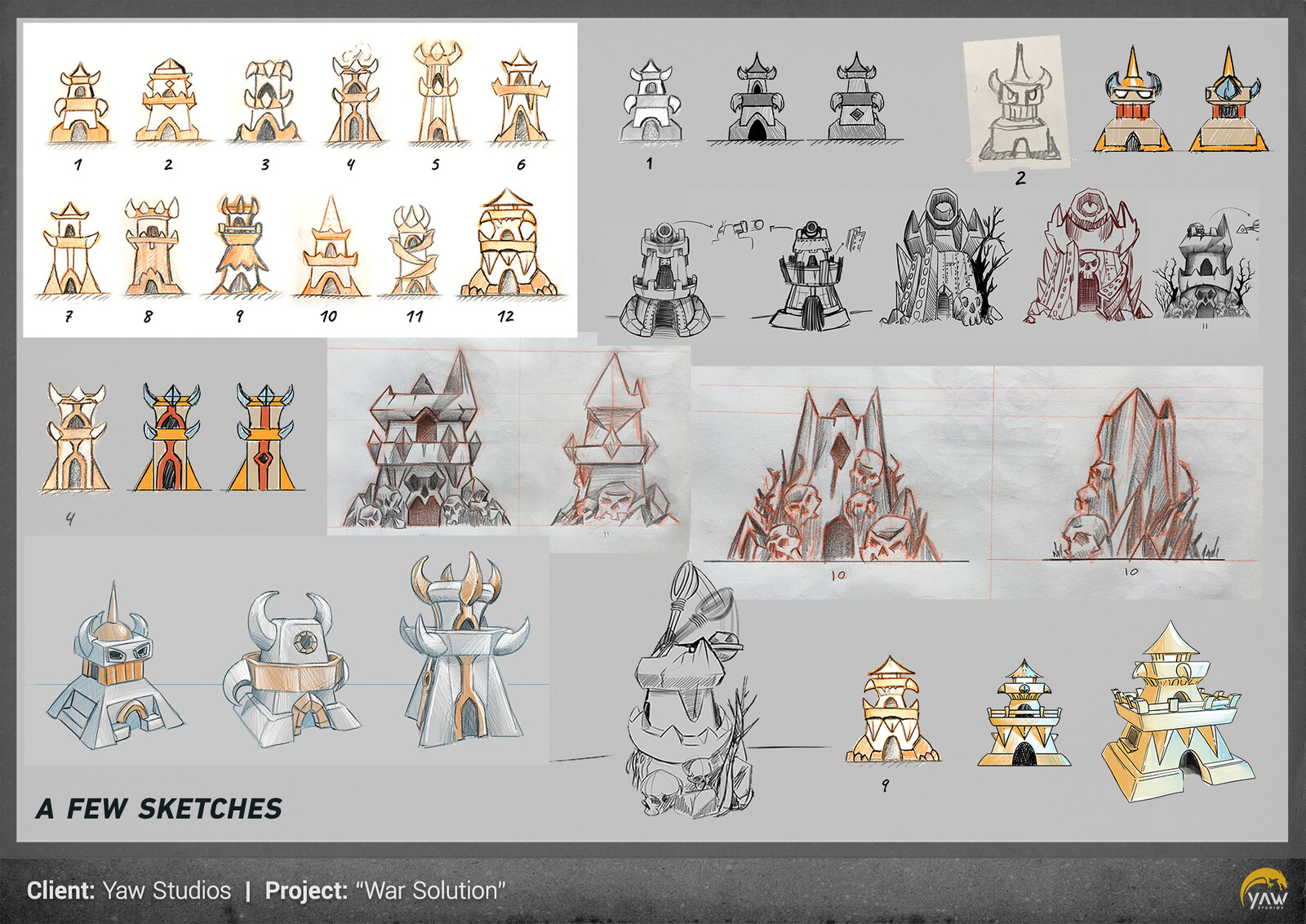 other sketches for the enemy towers