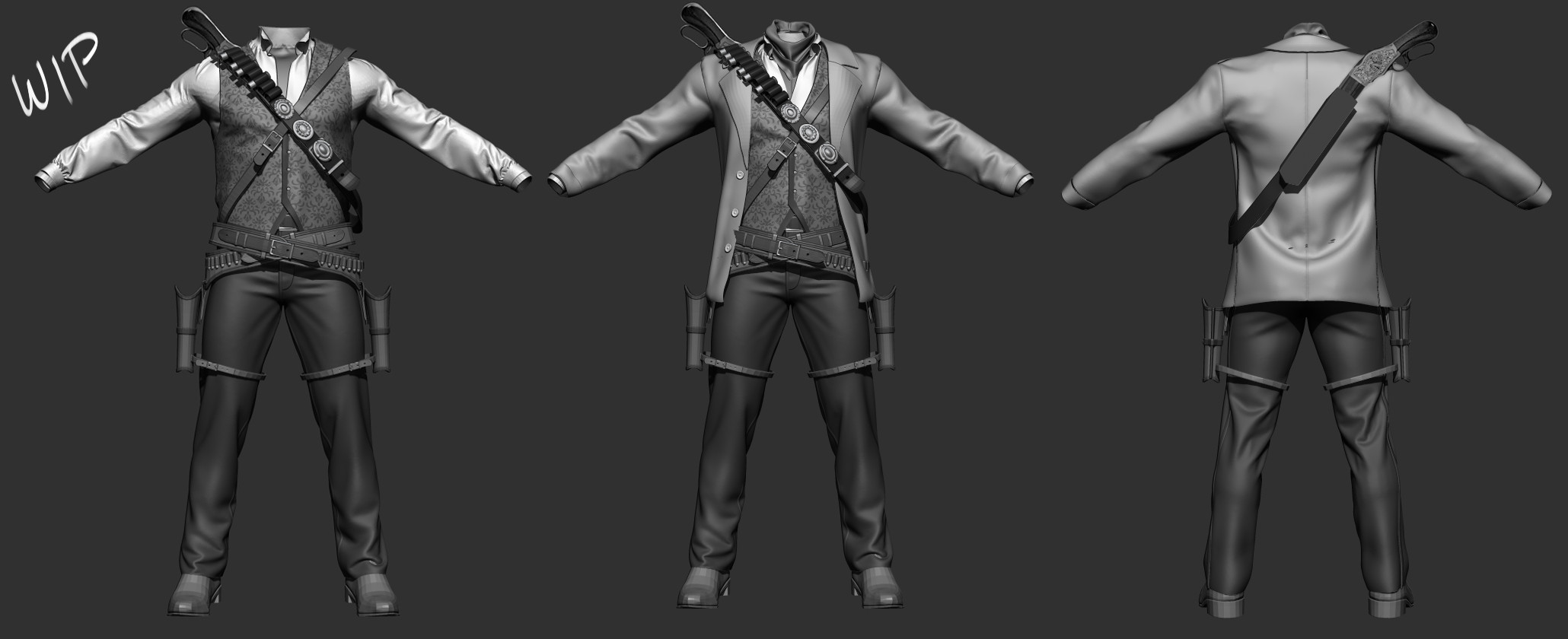 Some first pass 3d mockups that I made for potential outfits