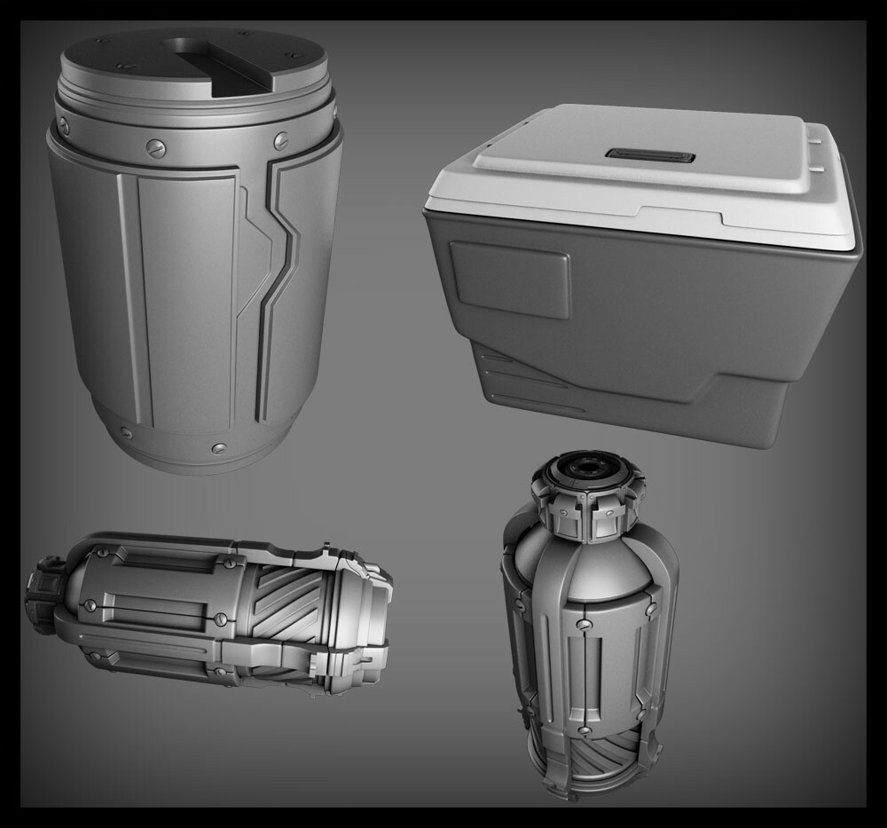 A grenade, nuclear fusion canister, and cooler. What? These objects go well together.