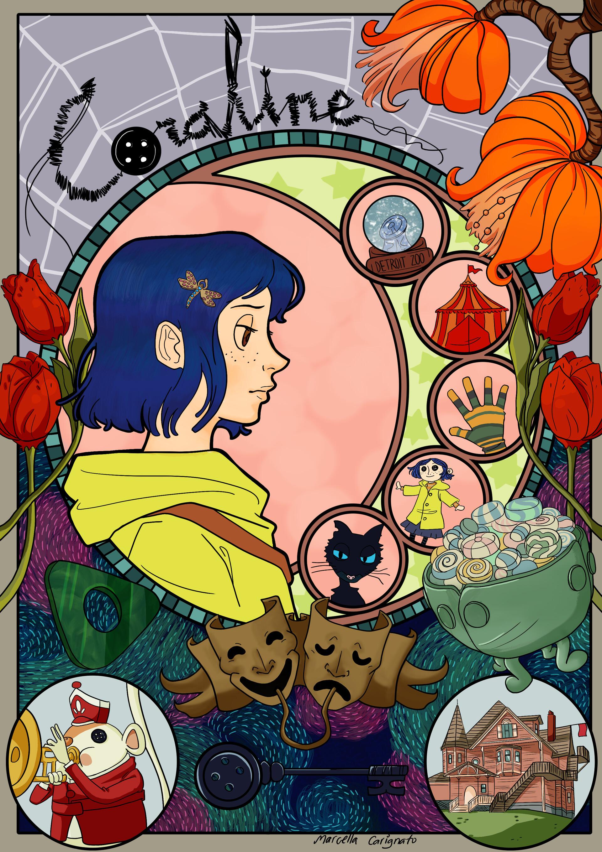 Artstation Coraline Art Nouveau Marcella Carvalho