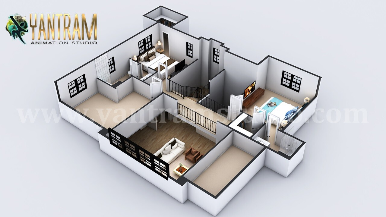 Artstation 4 Bedroom Simple Modern Residential 3d Floor Plan
