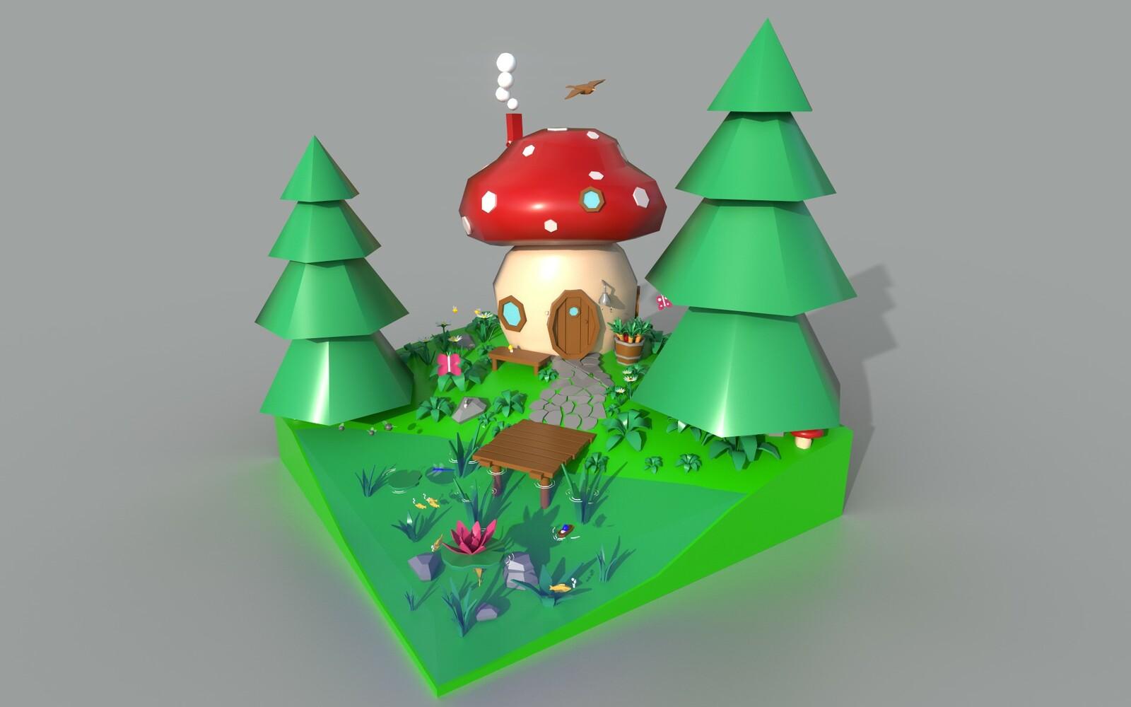 mushroom house render