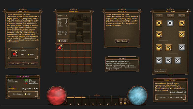 RPG game interface created for the unity asset store