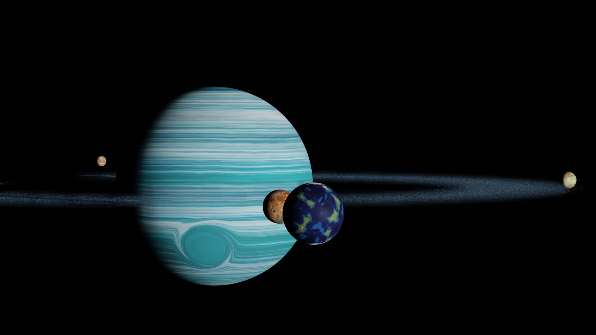 Shinseiko kuromatsu awesome gas giant roid rings 5 with volumetric dust and moons