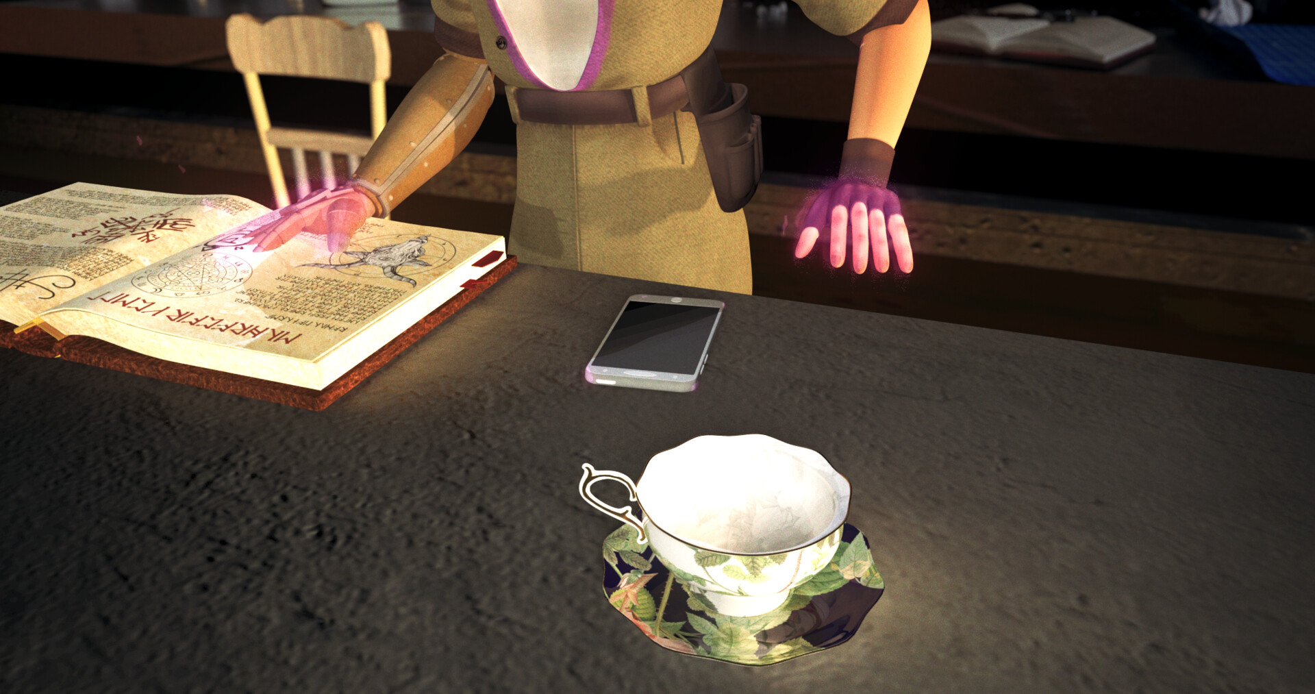The tea cup and saucer in use in the student film Mechropair
