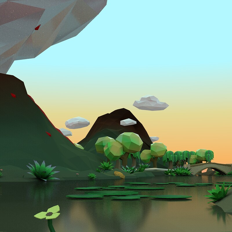Low Poly Environment - Day and Night