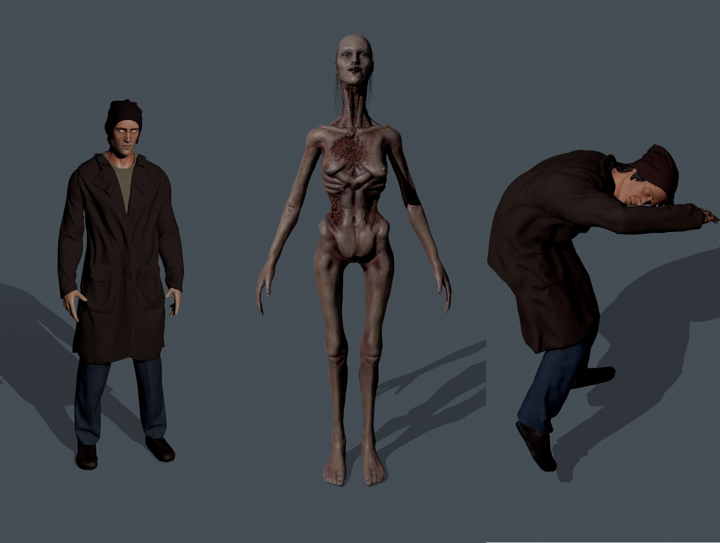 Models used in the game. In early prodcuction, we did not plan on animate him, so decimation tool was used in Zbrush to create the low poly. Due to the nature of the animations later applied, the low poly was sufficient.