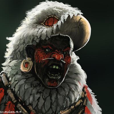 Attila gerenyi aztec elite warrior portrait 02