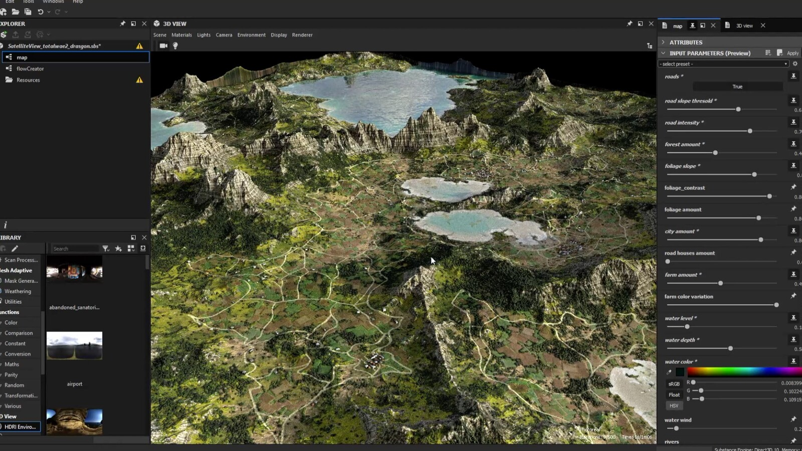 I imported the heightmap in SD as an Input node. I played with cities and roads. And exported the textures