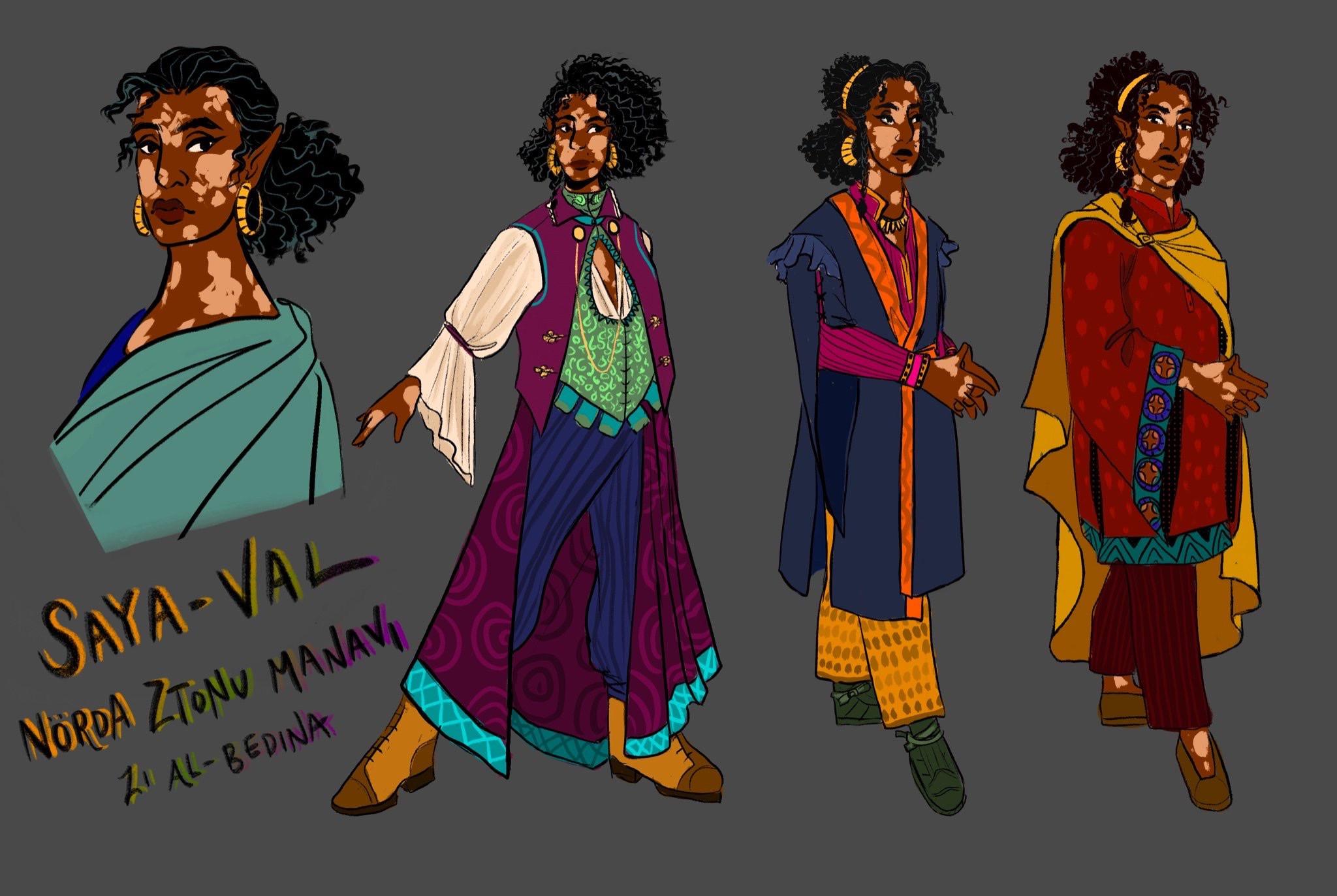 A closeup of Sample Outfits for Nörda Manavi