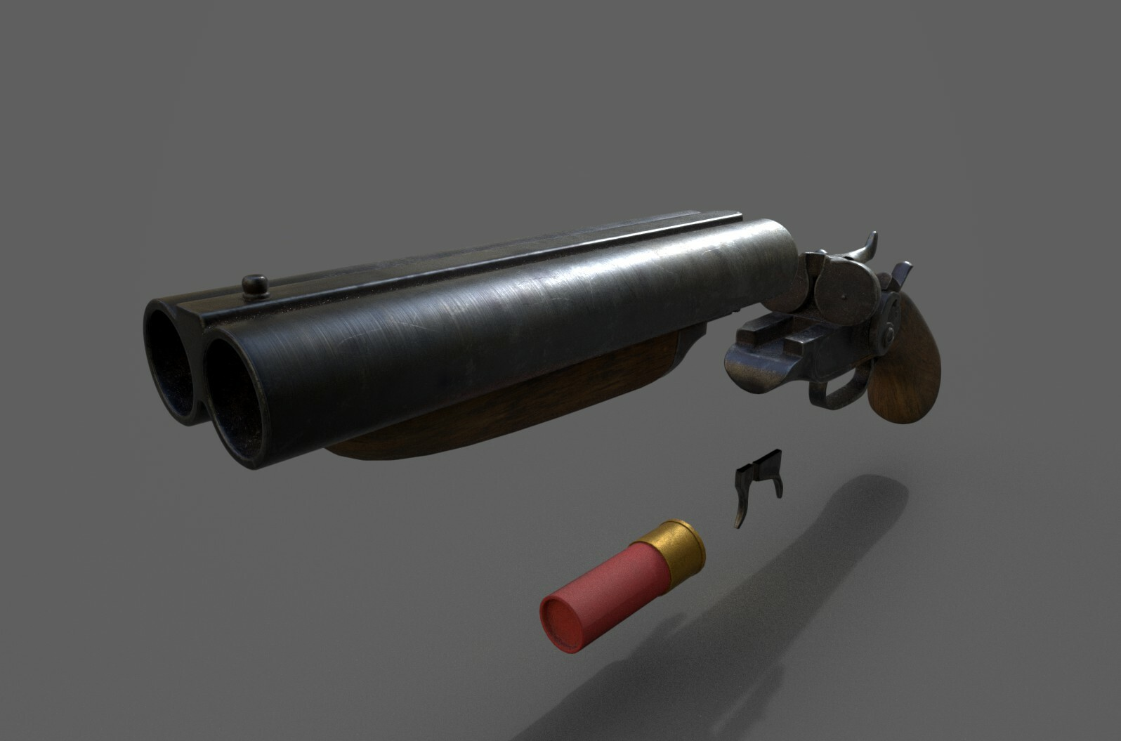 Sawed Off Shotgun freelance project. Low Poly Version.