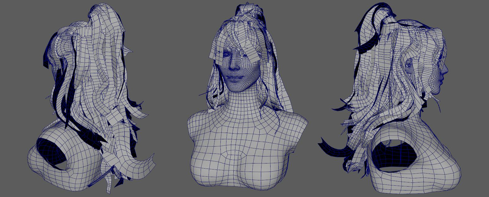 Low poly with wireframe, hair assets tricount is 22k.