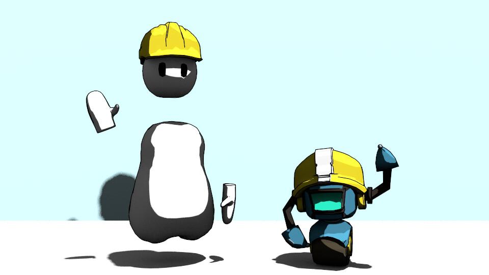 Both playable characters in Wacktory, rendered in Blender.