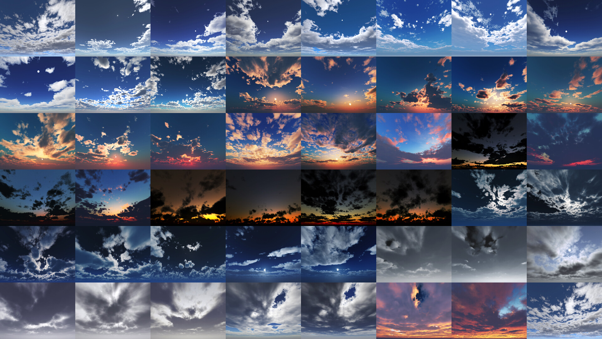Projected previews of all HDRIs within the pack.