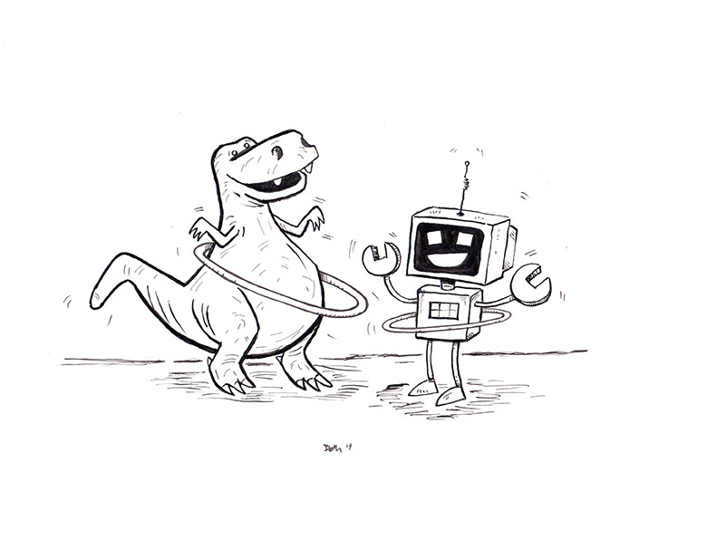 Robot & Dinosaur Cartoons - Inktober 2019