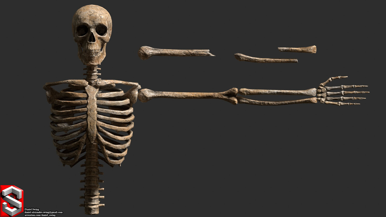A material I made in Substance Designer: It takes the baked Normal, AO and Curvature as inputs and creates this procedural bone texture along the mesh.