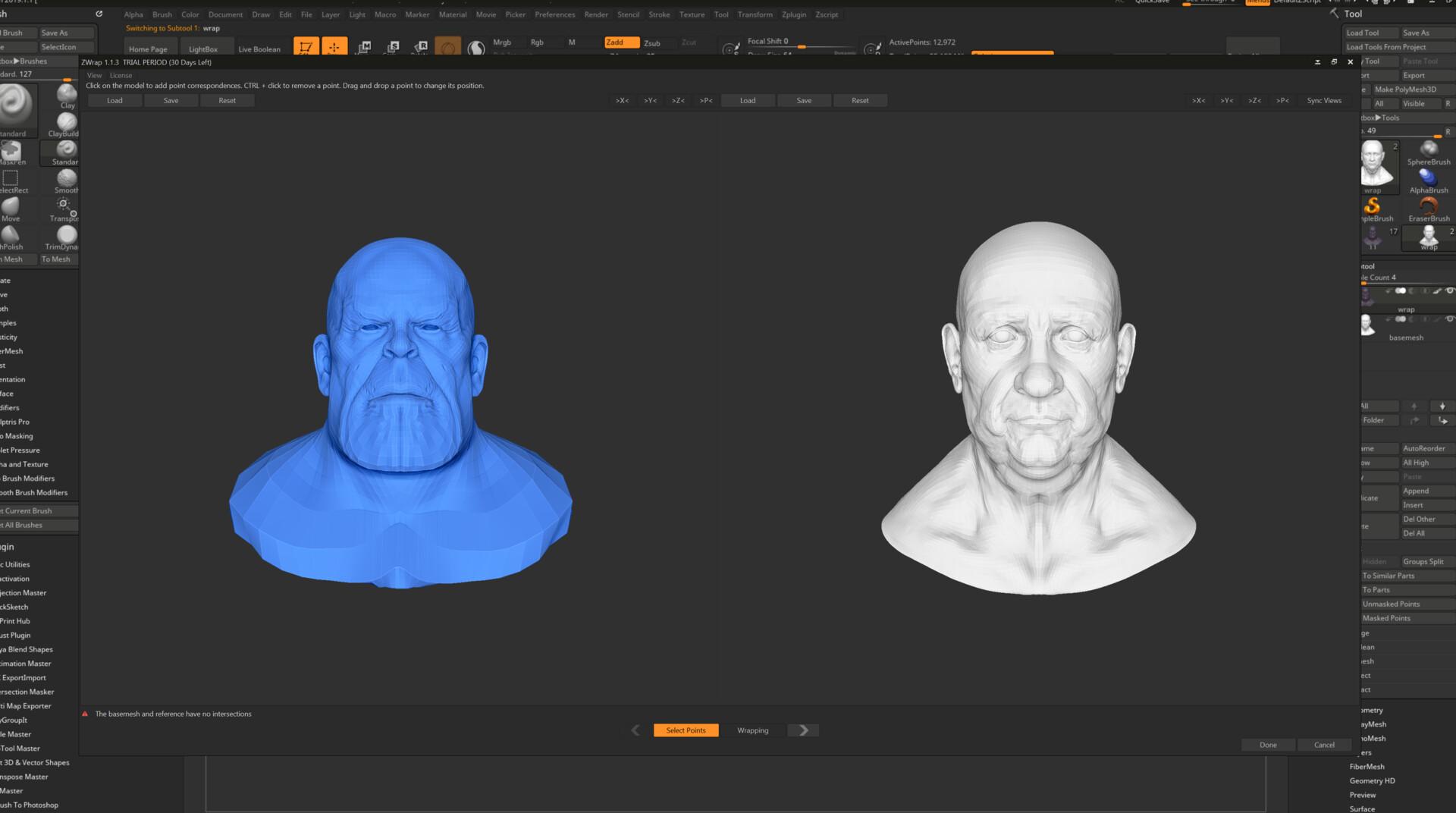 using the Z warp to transfer the sculpt information for the rigth topology