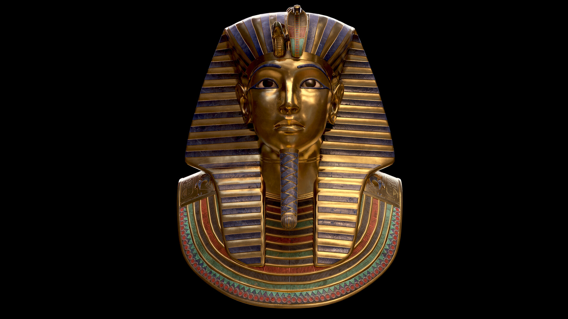 Front view of th egolden mask