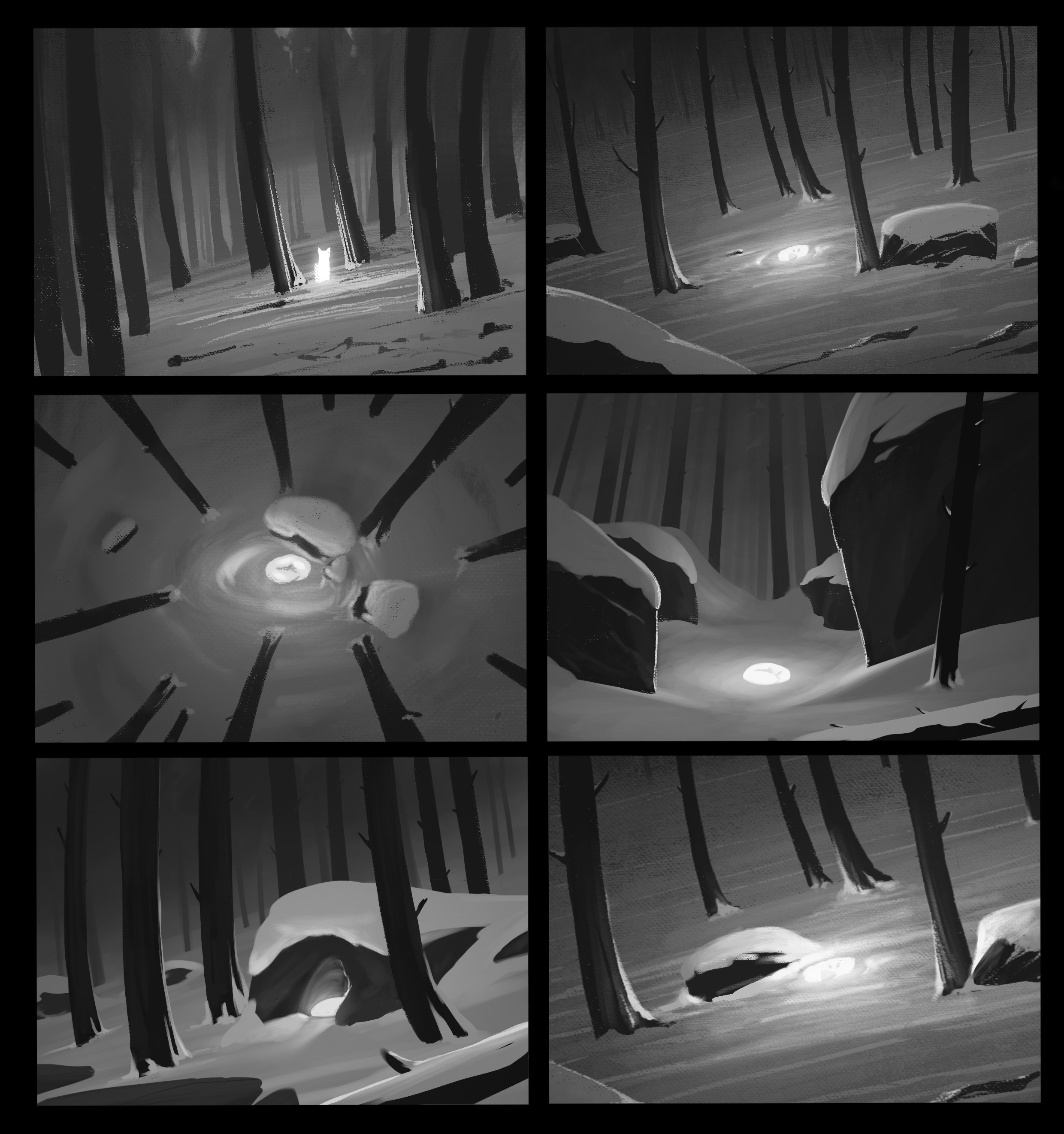 A set of initial thumbnail sketches