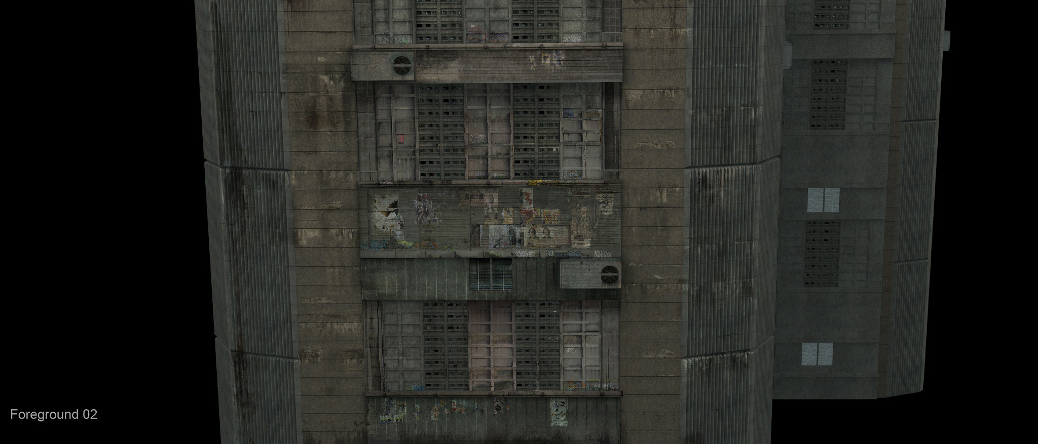 Matte painting of Foreground building used in panning shot