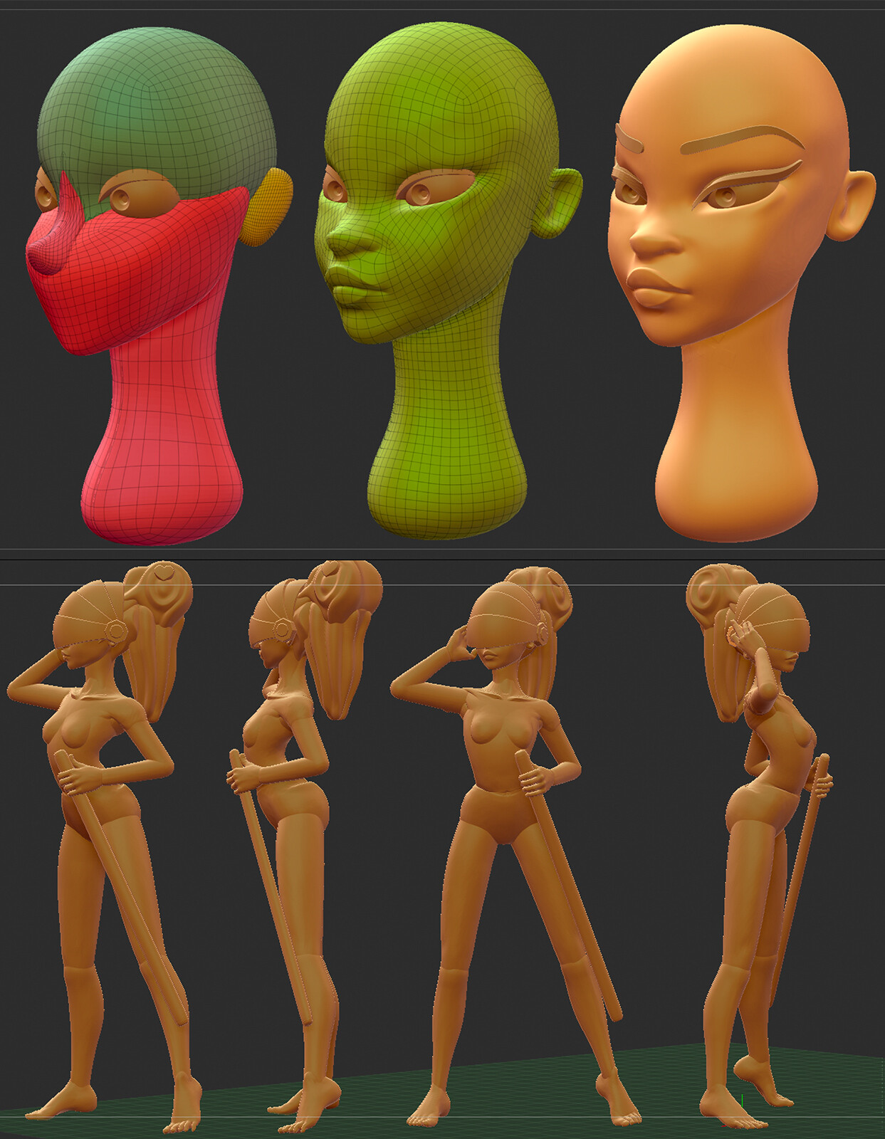 Block out using zbrush primitives (+ designdoll for proportions sketching)