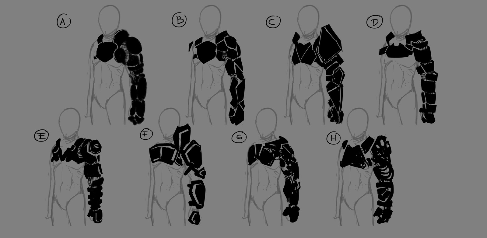 Silhouettes for the arm section.