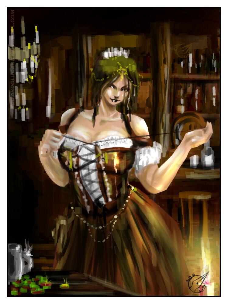 Tavern Waitress  - Cardgame Art