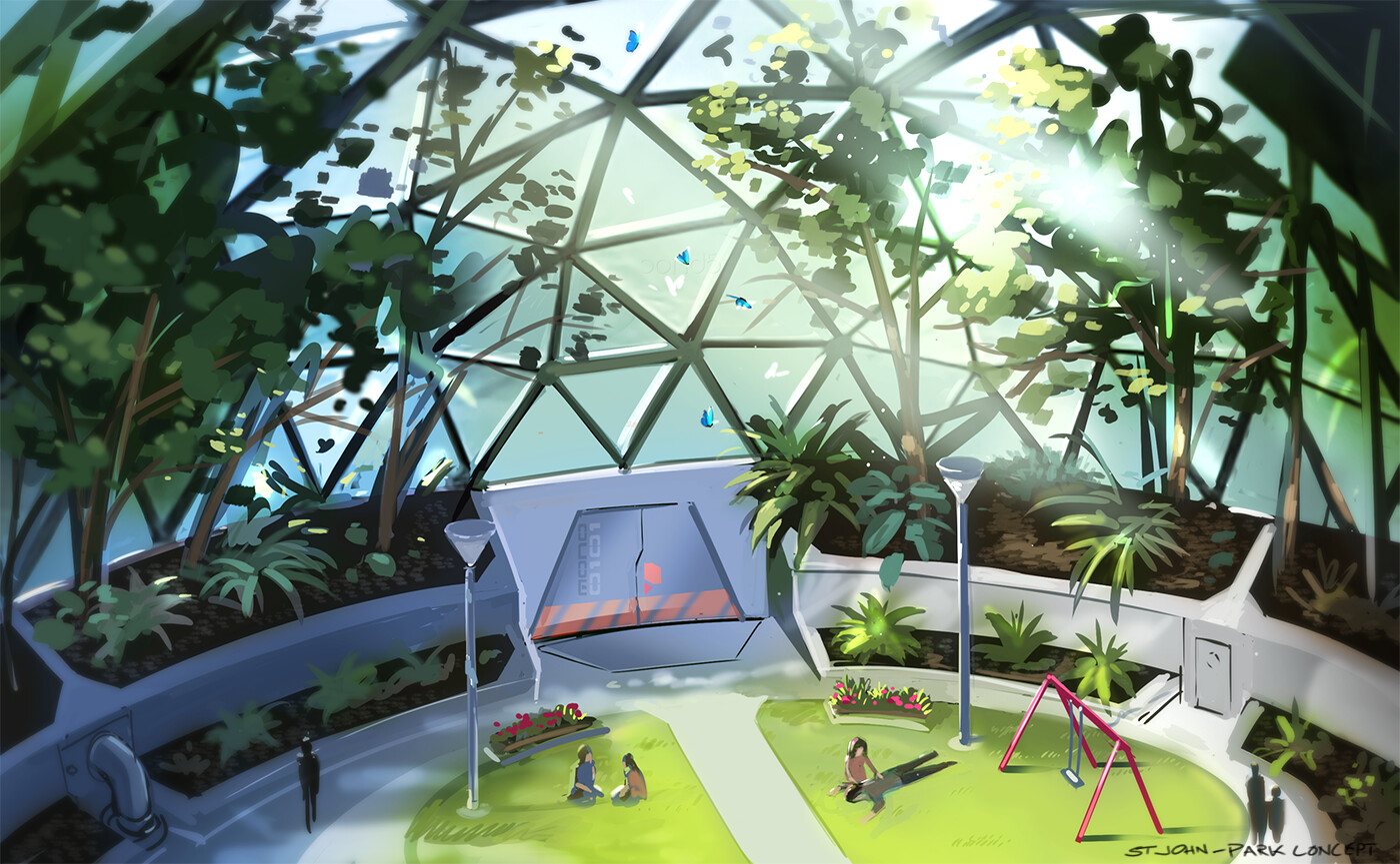 VR mobile stylized enviro dome park concept art by Ben Ward
