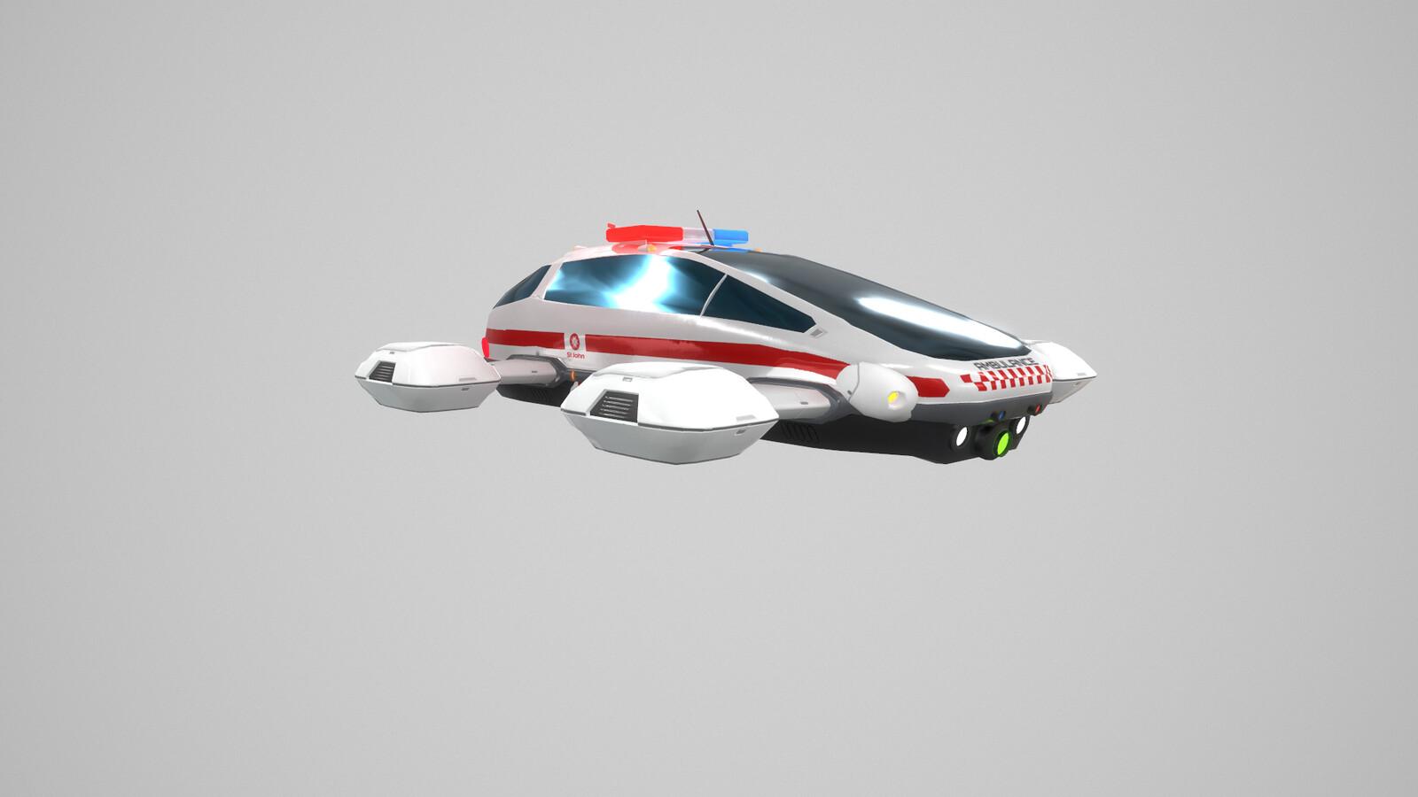 VR Stylized sci fi flying ambulance