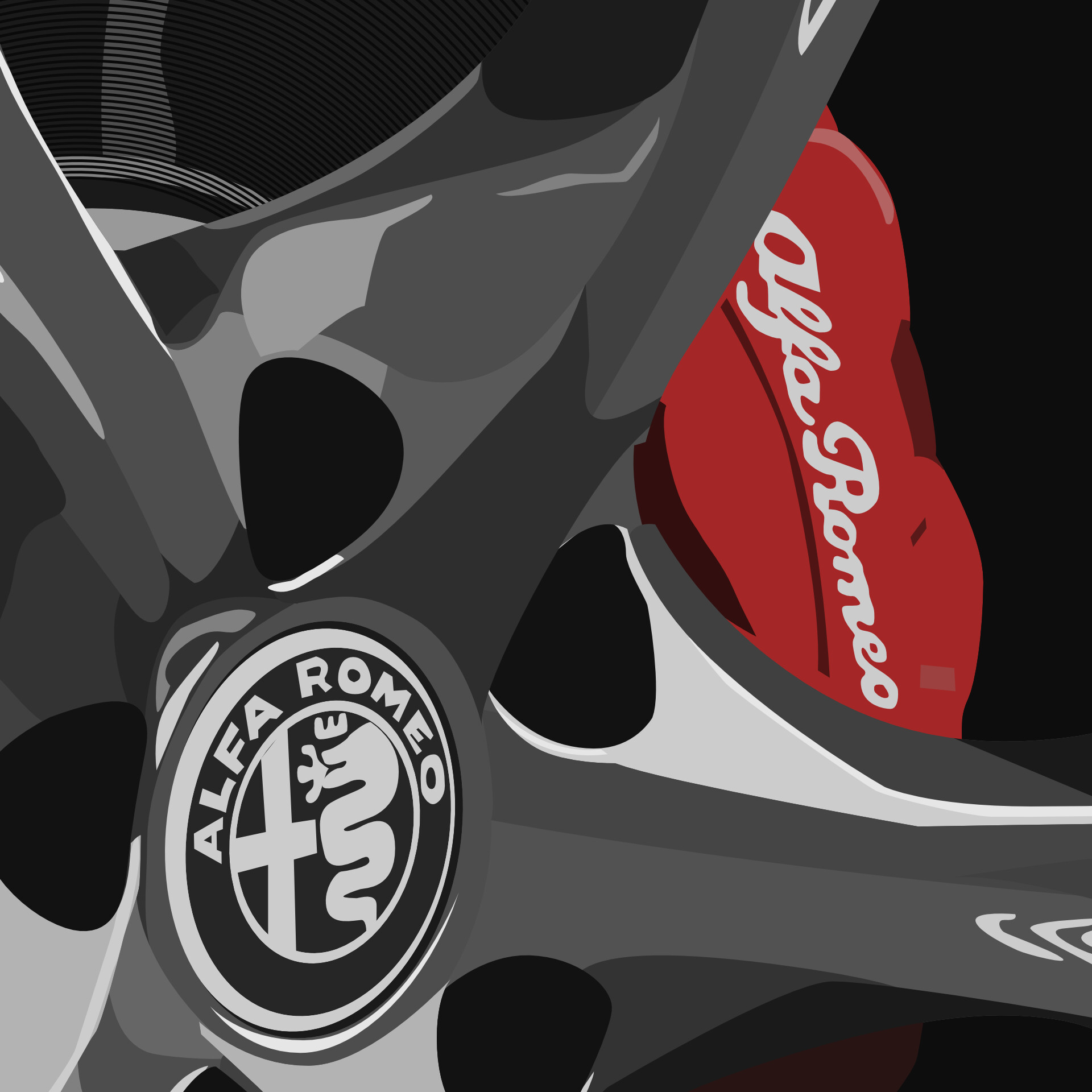 Detailed view of brake caliper and wheel center