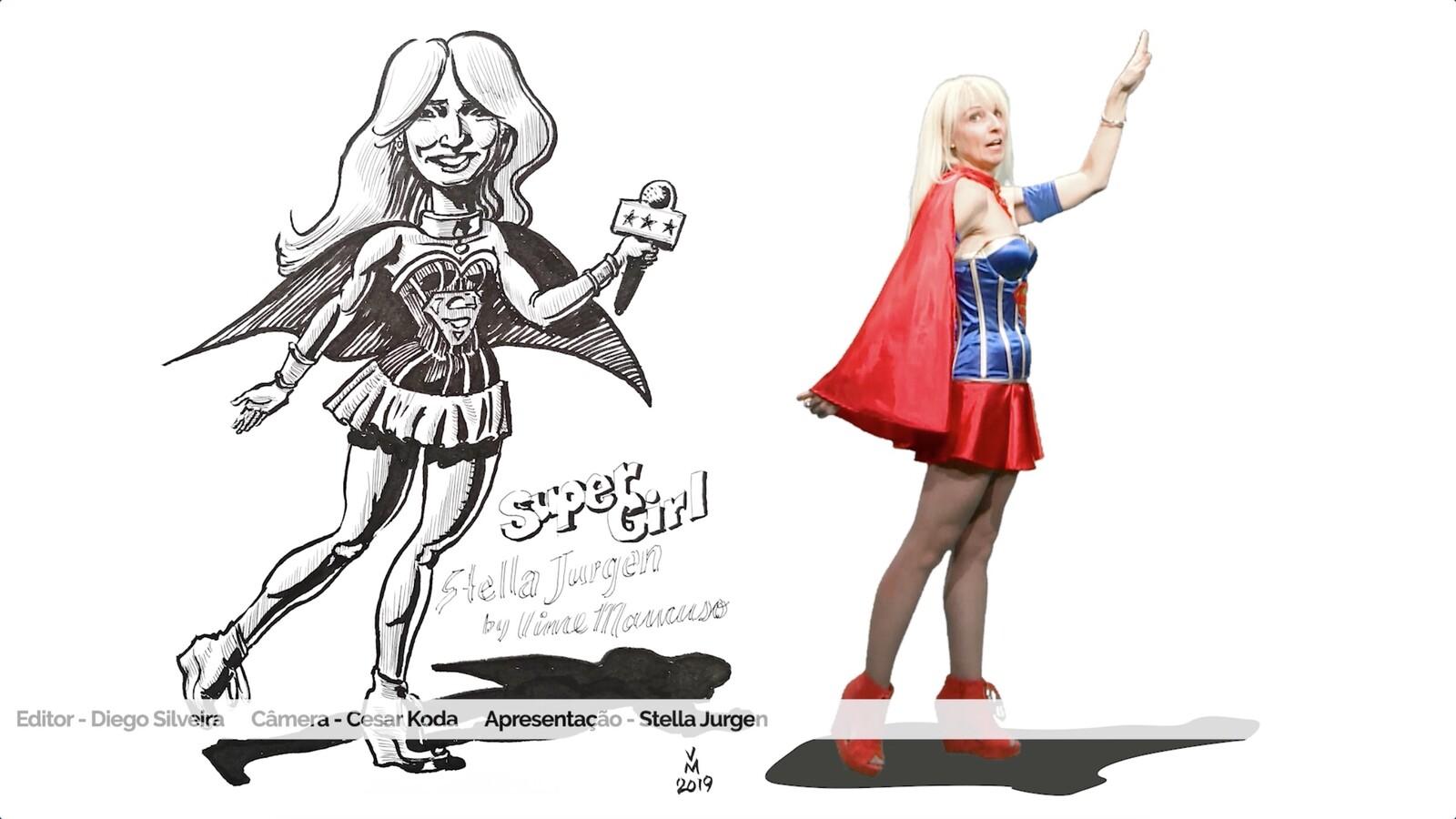 Caricature of TV hostess Stella Jurgen
