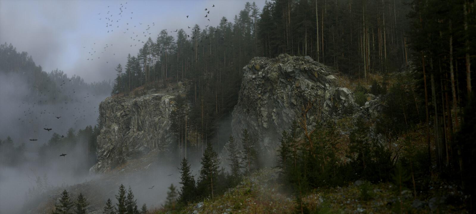 Foggy Cliff Side