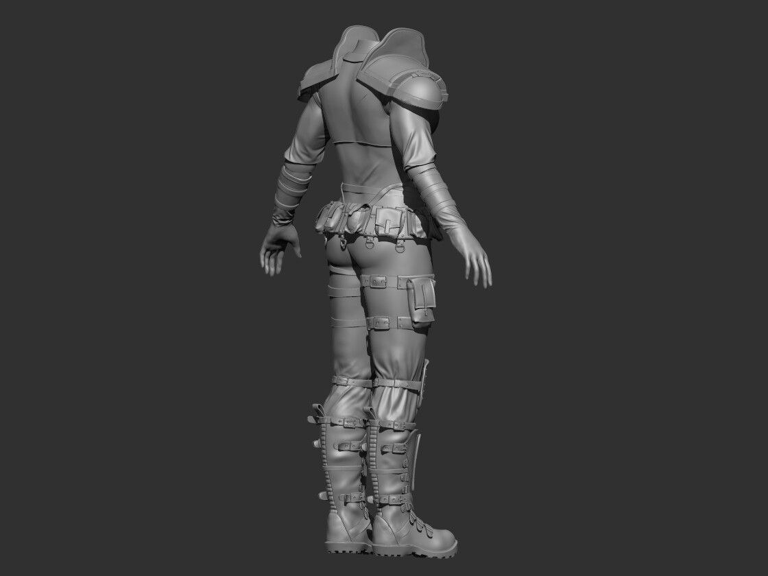 Pouches and clothes are made in Marvelous Designer and boots, armour and belts made in Zbrush with Zmodeler.