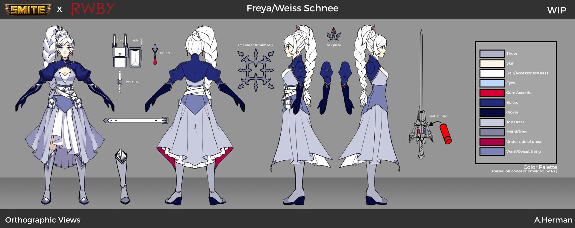 Weiss Season 7 Skin Orthographic