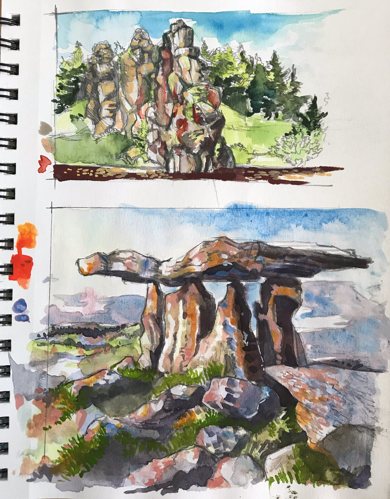 Some rocky landscapes in gouache and watercolor!