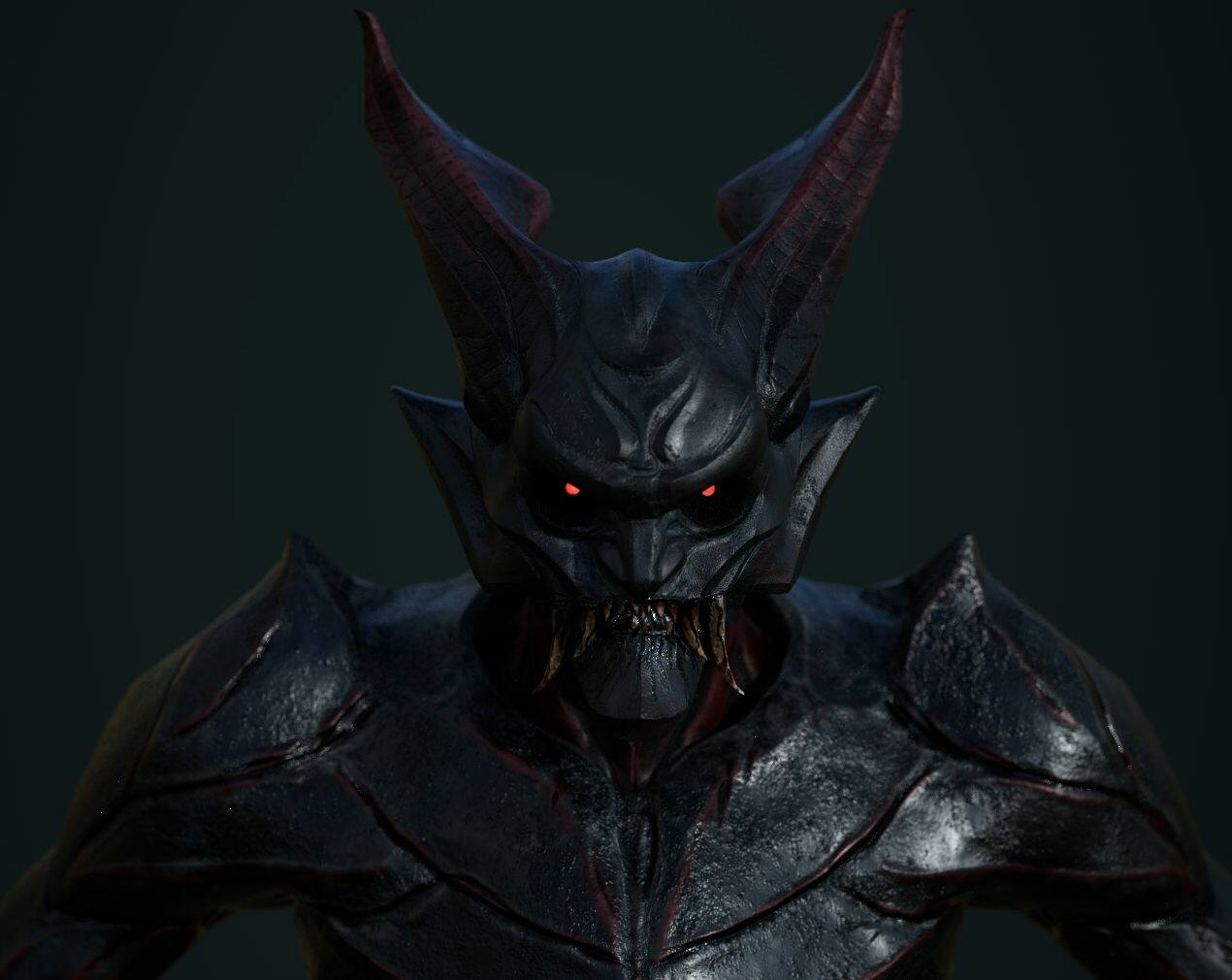 Added some shades of Red to add volume and texture to the devilish look creature.