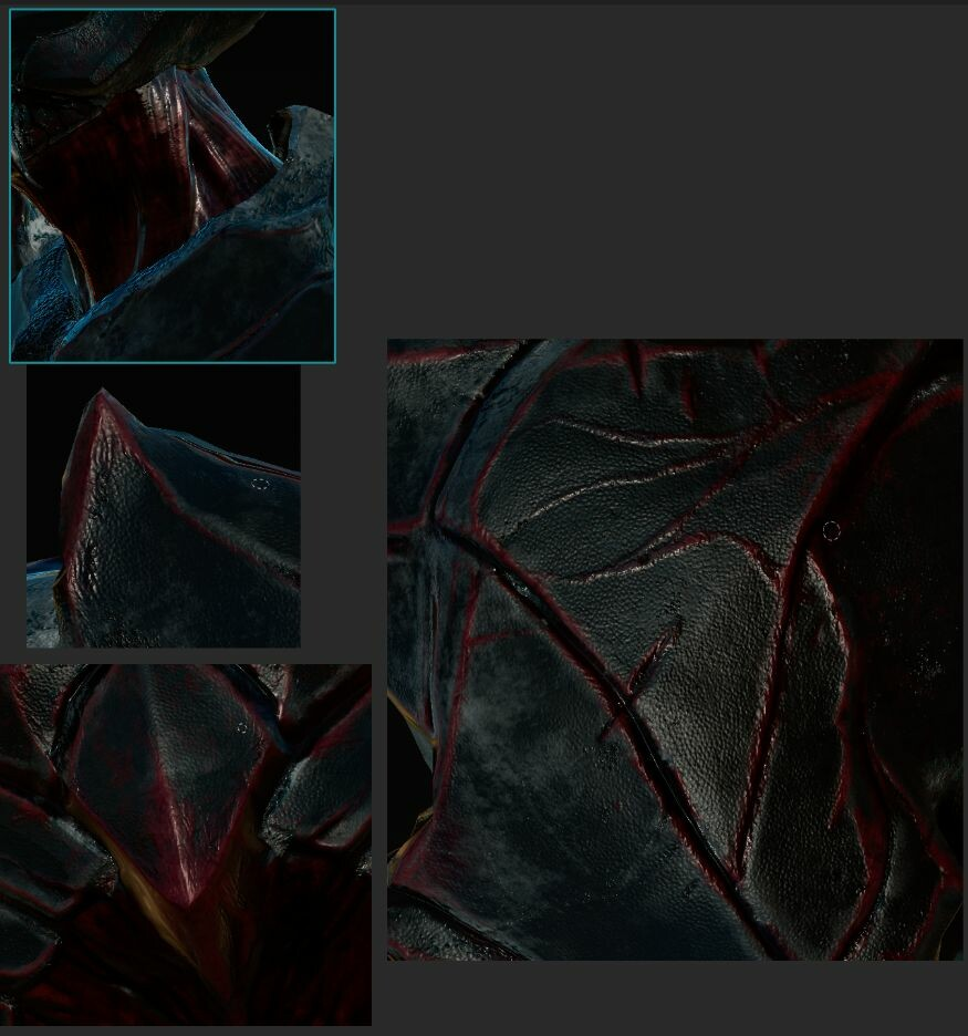 CloseUp of texture updates i made adding more fine details to Demon's skin.